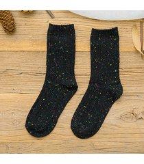calze comode casuali d'annata di inverno dei calzini svegli del cotone di colore solido delle donne di colore solido