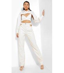 nepleren premium broek met uitsnijding, white