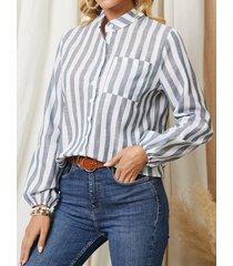 camicetta casual da donna con tasca a maniche lunghe con bottoni stampati a righe