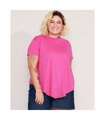 camiseta de algodão plus size básica com nó manga curta decote redondo roxa