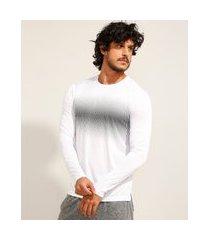 camiseta esportiva ace manga longa gola careca com proteção uv 50+ branca