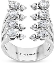 18k white gold and diamond dots ring