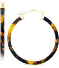 simone i. smith tortoiseshell-look lucite hoop earrings in 18k gold over sterling silver