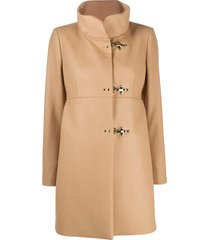 fay high neck duffle coat - brown