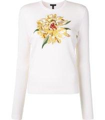 escada embroidered floral pullover - white
