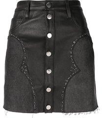 amiri western denim mix mini skirt - black