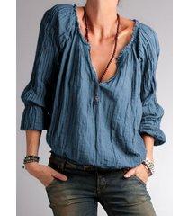 camicetta a maniche lunghe con bottoni arruffati tinta unita per donna