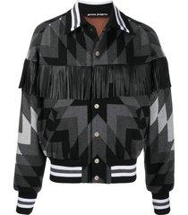 palm angels arizona fringed bomber jacket - grey