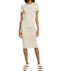 treasure & bond side ruched body-con dress, size x-large in beige oatmeal medium heather at nordstrom