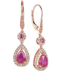 certified ruby (1-5/8 ct. t.w.) and diamond (1/3 ct. t.w.) teardrop halo drop earrings in 14k rose gold