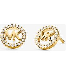 mk orecchini a bottone in argento sterling placcato in metallo prezioso con logo e pavé - oro (oro) - michael kors