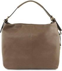 tuscany leather tl141719 tl bag - borsa hobo in pelle morbida talpa scuro