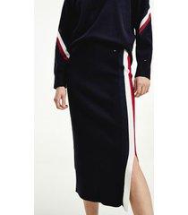 tommy hilfiger women's signature stripe midi skirt desert sky - l