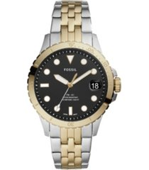 fossil fb-01 three-hand date two-tone stainless steel watch 36mm