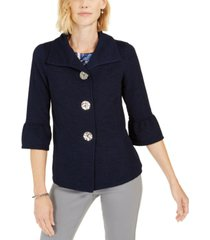 jm collection petite ottoman 3/4-sleeve jacket, created for macy's