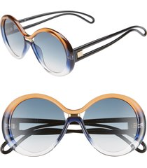 women's givenchy 56mm round sunglasses - brown blue