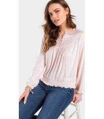 carolina crochet slub blouse - blush