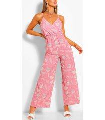 paisley print wrap strappy jumpsuit, rose