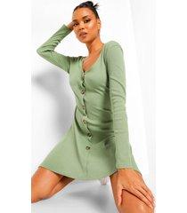 geribbelde skater jurk met lange mouwen en knoop detail, olive