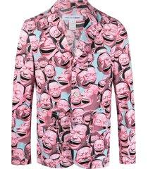 comme des garçons shirt x yue minjun unlined print blazer - pink