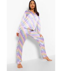 satijnen pastel gestreepte pyjama, multi