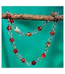 caramel agate link bracelet, 'iemanja's treasure' (brazil)