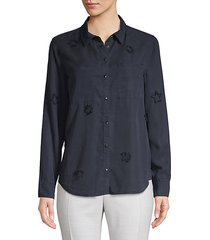 distressed star button-down shirt