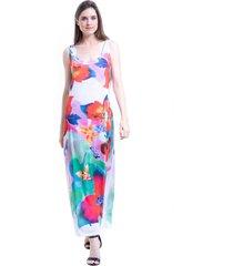 vestido 101 resort wear longo malha fria estampa floral vermelho branco