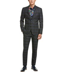 paisley & gray skinny fit suit separates coat charcoal plaid