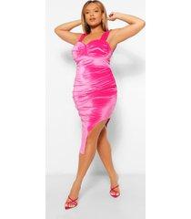 plus velours midi jurk met zijsplit, hot pink