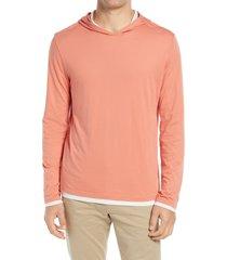 men's vince double layer hoodie, size xx-large - orange