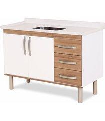 gabinete para cozinha 120cm mdp 12mm munique nogal sevilha 116,2x60x49,5cm - rorato - rorato