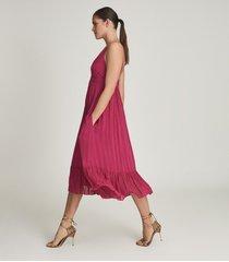 reiss marie - striped midi dress in pink, womens, size 14