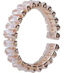 anello strass in metallo rosato per donna