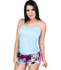 pijamas mvb modas curto adulto regata e short doll azul
