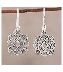 sterling silver dangle earrings, 'curvy flowers' (india)