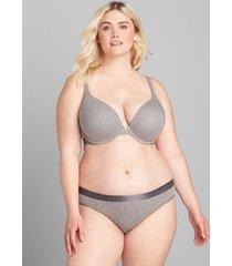 lane bryant women's cotton boost plunge bra 42b summer grey