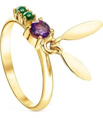 anillo fragile nature hojas de plata vermeil y gemas dorado tous