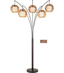 """artiva usa bali 88"""" led arched floor lamp handcrafted rattan shade, bronze with dimmer"""