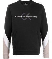 calvin klein panelled-sleeves logo sweatshirt - black