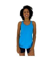 regata feminina alto conceito halter lateral azul piscina