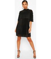 plisse ruffle neck shift dress, black