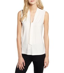 anne klein sleeveless v-neck tie front blouse, size small in anne white at nordstrom