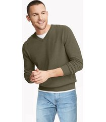 tommy hilfiger men's essential v-neck sweater deep lichen green heather - xxl