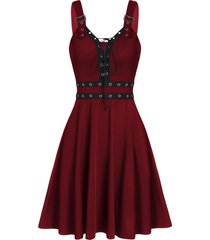 lace up solid fit and flare gothic dress