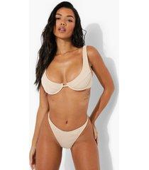geribbelde bikini top met beugel, sand