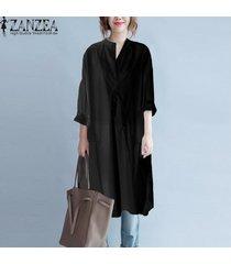 zanzea mujeres collar del soporte de la manga larga de gran tamaño de la blusa superior camisa de vestir casual negro -negro
