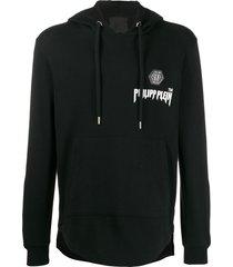 philipp plein stud detail hoodie - black