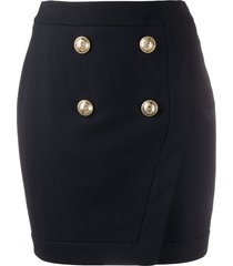 balmain decorative button short skirt - blue