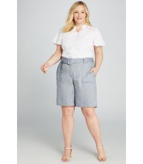 lane bryant women's high-rise bermuda short - belted 20 denim linen